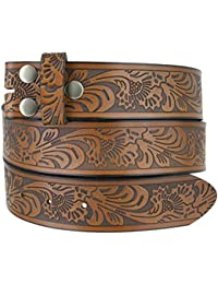 Western Embossed Leather Belt Strap w/Snaps for Interchangeable Buckles