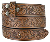 Western Floral Embossed Vintage Soft Genuine Leather Belt Strap 1.5'' (Brown, 32)