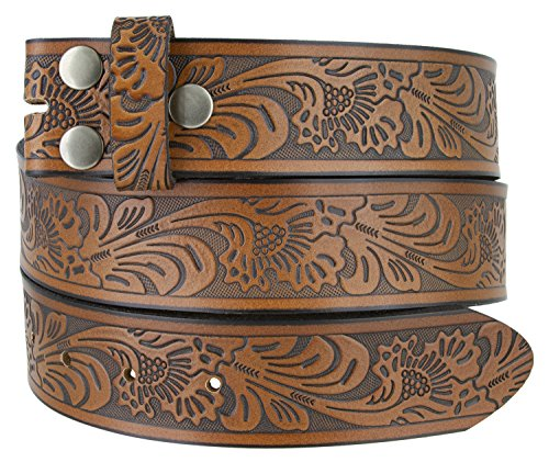 Leather Interchangeable Buckle - Western Floral Embossed Vintage Soft Genuine Leather Belt Strap 1.5