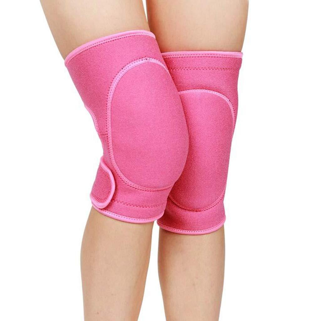 HQCC Men's Sports Knee Pads Ladies Dance Yoga Sponge Running Protective Pink (Color : Pink)