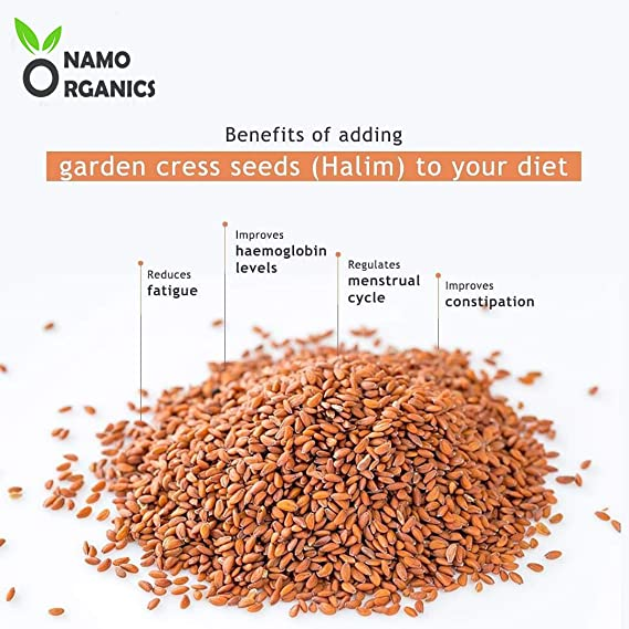 400 Gm Immunity Booster Superfood for Eating and Weight Loss RR Group Namo Organics 100/% Organic Halim Seeds Aliv // Garden Cress