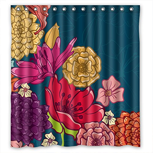 TonyLegner Polyester Flower Bathroom Curtains Width X Height / 66 X 72 Inches / W H 168 By 180 Cm Gift Or Decor For Teens Her Valentine Custom Bf. Home Fashion - Fabric (Transp Matte)