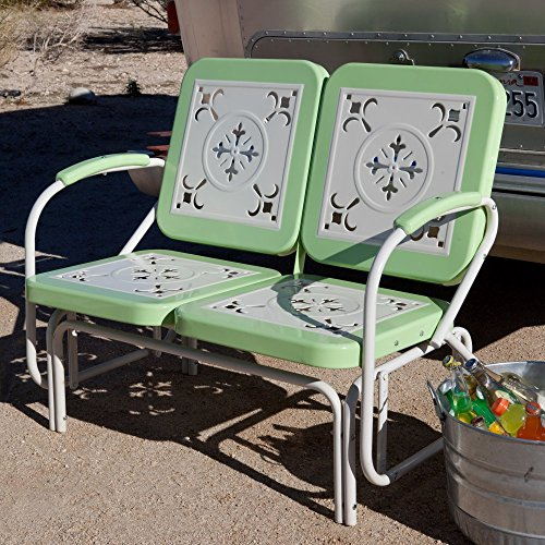 Coral Coast Paradise Cove Retro Metal Outdoor Glider Loveseat (Metal Glider Vintage)