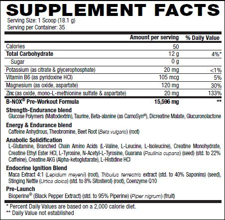 Betancourt Nutrition - B-Nox Pre Workout Drink Mix, 35 servings Fruit Punch Net wt 22.3 Oz (1.3 lbs) (Pack of 2) Packaged by PMB)