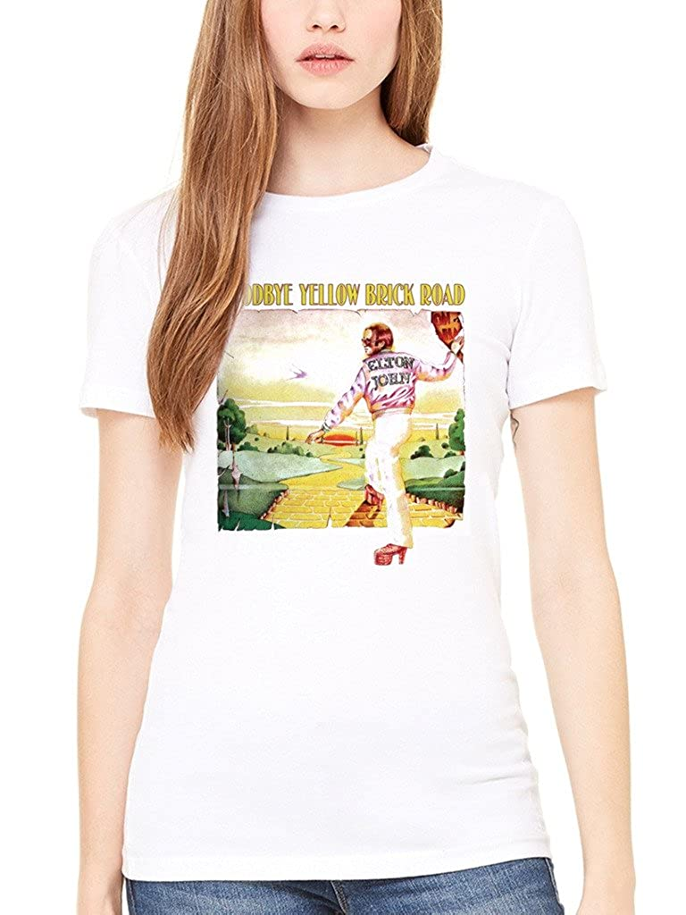 AWDIP Elton John 'Goodbye Yellow Brick Road' Womens Fitted T-Shirt OFFICIALELTONBRKWMNWHTTAA