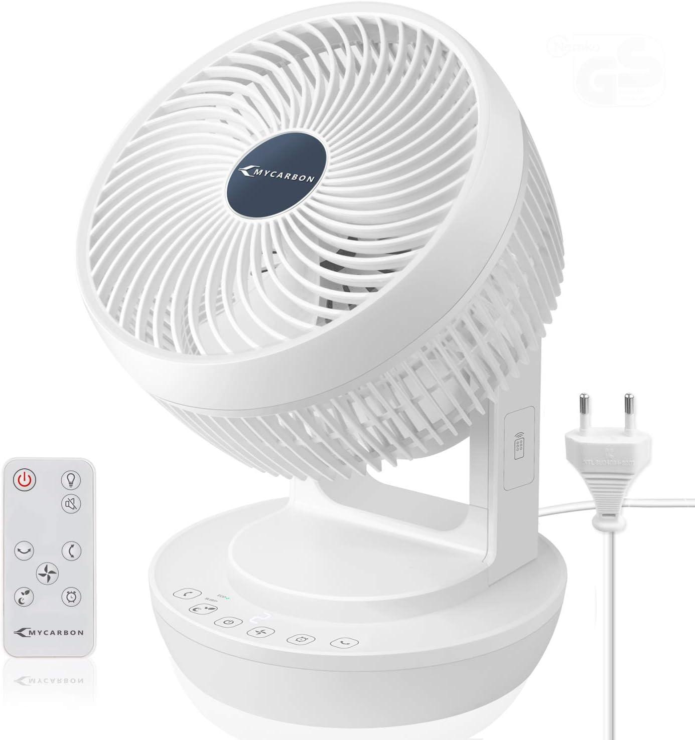 MYCARBON Ventilador Silencioso Ventilador de Mesa con Control Remoto 360° Ventilador de Escritorio con 4 Velocidades Circulación del Aire para 4 Estacionas Portátil Temporizador y Secadora de Ropa