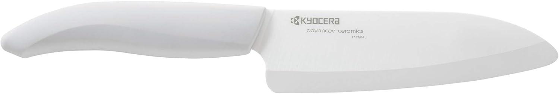 Kyocera Advanced Ceramic Revolution Series 5-1/2-inch Santoku Knife, White Handle, White Blade