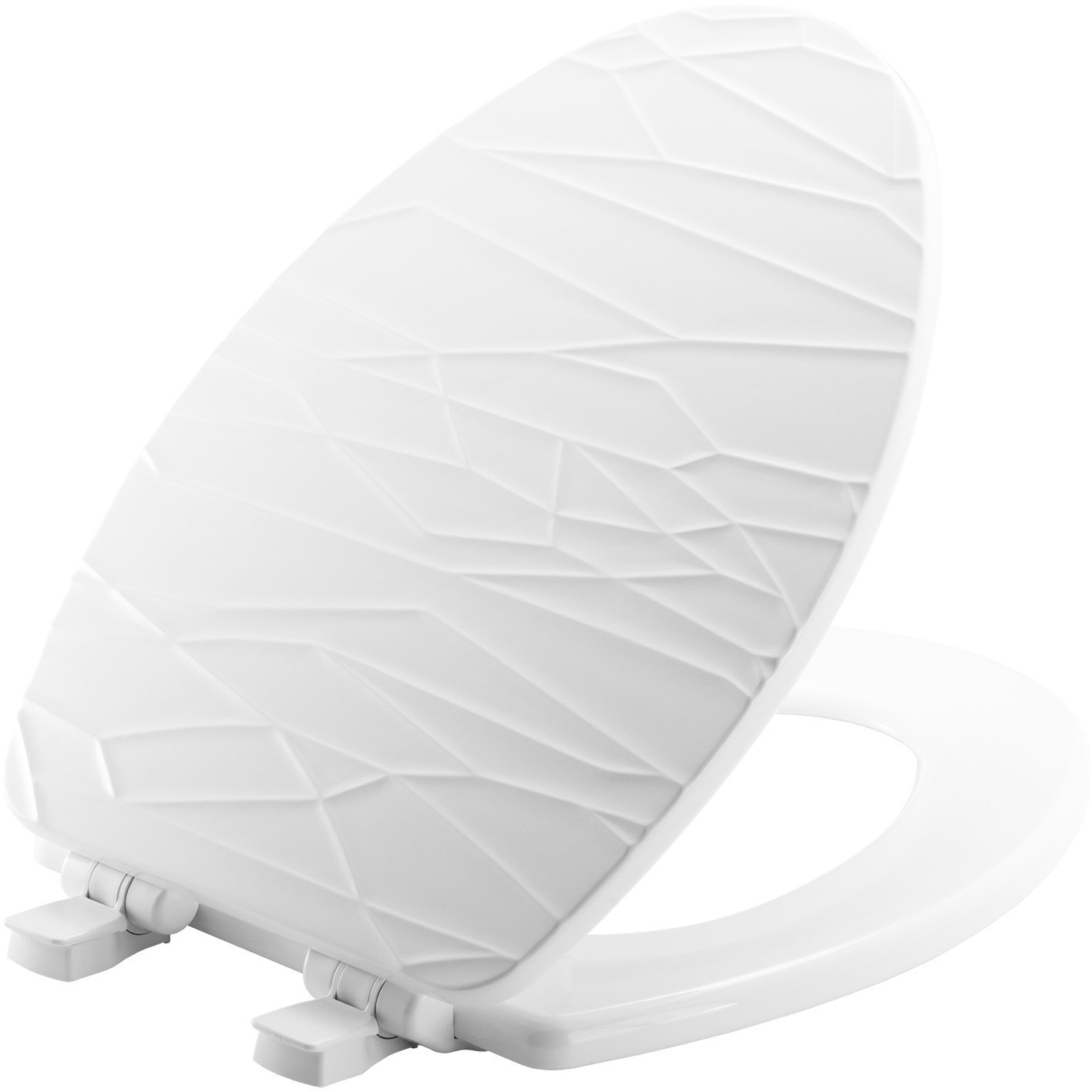Mayfair Modern Geometric Sculptured Molded Wood Toilet Seat Featuring Slow-Close, Easy Clean & Change Hinges and STA-TITE Seat Fastening System, Elongated, White, 137SLOW 000 by Mayfair