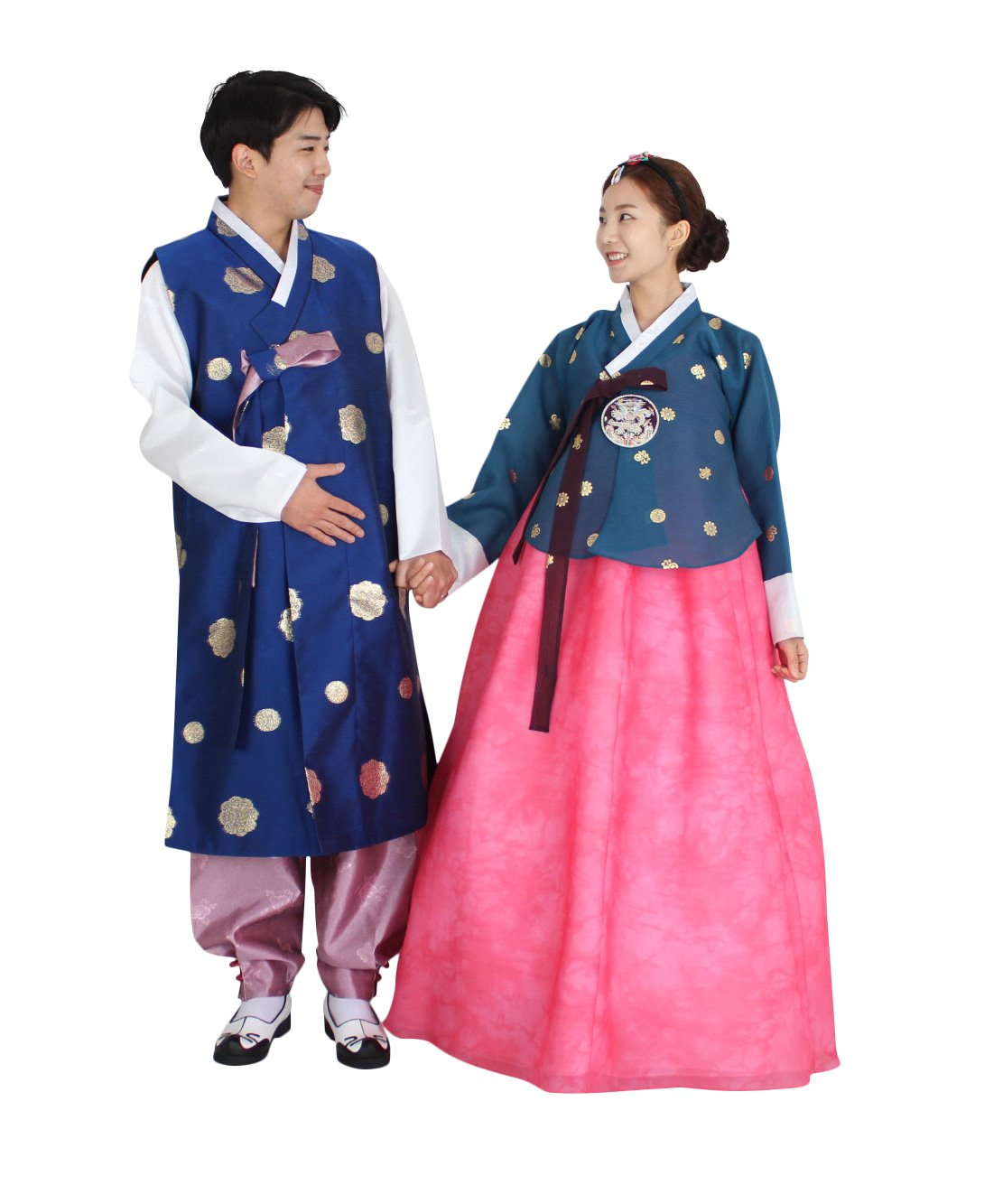 Hanbok Korea Traditional Costumes Women Men Couple Weddings Birthday Speical Ceremony co104 (pants length 115cm (waist 32 inches)) by Hanbok store