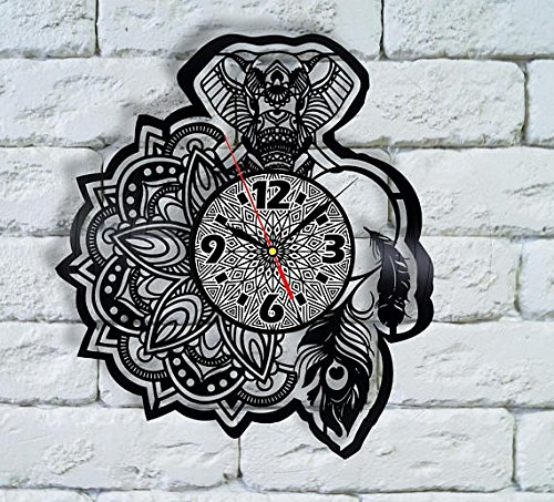 Mandala wall art Vinyl record Clock mandala monogram, mandala and elephant, wedding anniversary gifts 10 years mandala animal tattoo ideas