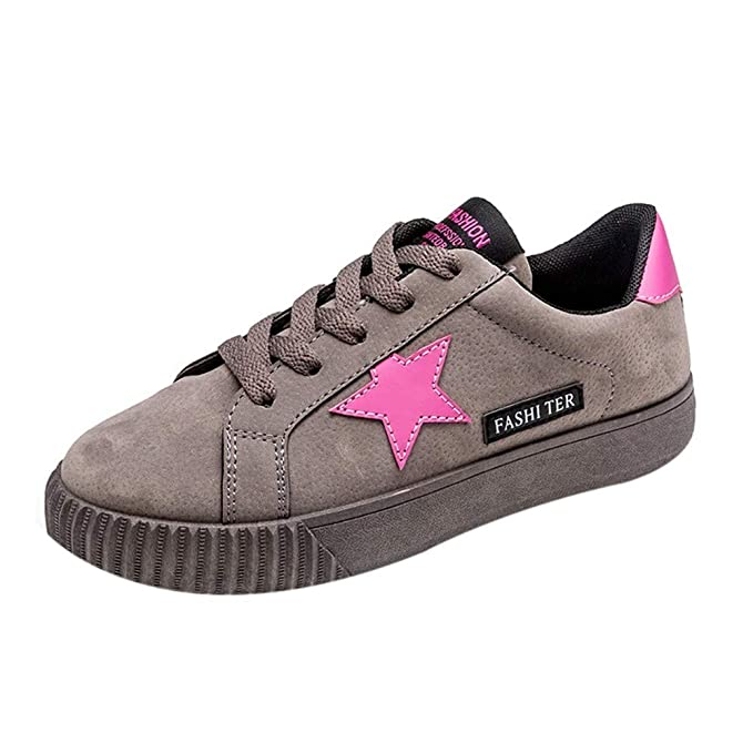 50a54ac976d291 Sonmer Women Lace-Up Letter Star Sport Running Sneaker Walking Flat Casual  Shoes (5.5