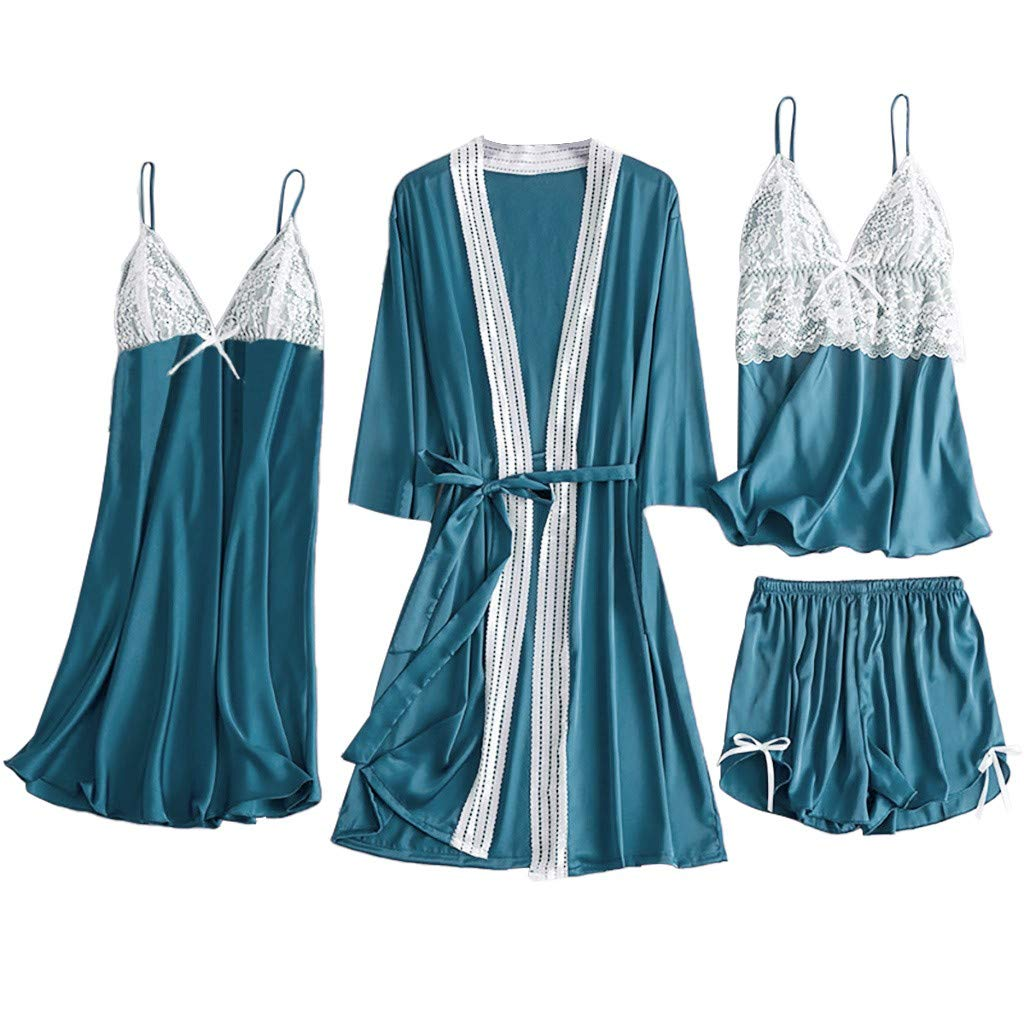 Nightwear for Women Pajama Set 2/4/5PCS Women's Satin Pajama Cami Silky Nightdress Pants Robe Short Sleepwear✚Oldlover
