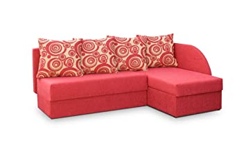 Incredible Lukafurniture Red Fabric Small Corner Sofa Bed Viola Short Links Chair Design For Home Short Linksinfo