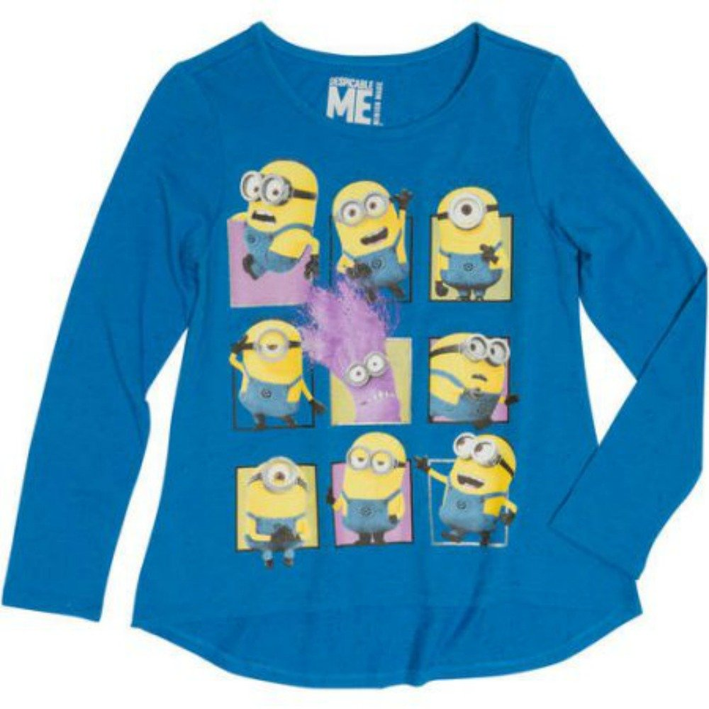 Despicable Me Minions Squares Girls' Long Sleeve HiLo Crew Neck Graphic Tee (...
