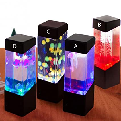 Oyalaiy Oyotric Jellyfish Lámpara eléctrica de Tanque de Medusa Artificial Mini Acuario cambiante de Color de
