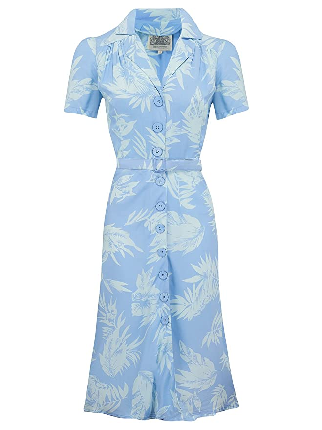 1940s Dresses and Clothing UK | 40s Shoes UK 1940s Authentic Vintage Inspired Lisa Shirtwaister Dress in Seaside by The Seamstress of Bloomsbury (UK 10) £79.00 AT vintagedancer.com