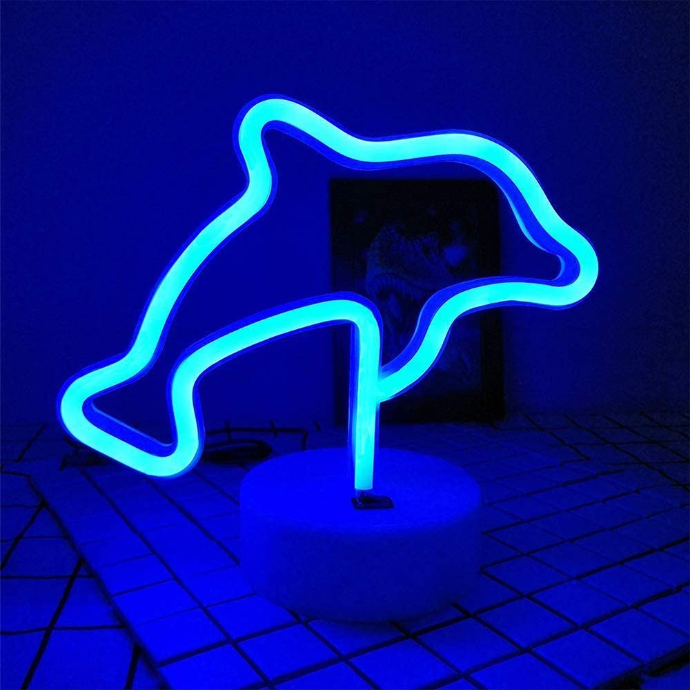 Blue Dolphins Shaped LED Neon Night Neon Signs USB & Battery Powered Neon Lights Neon Light with Base LED Neon Light Signs Light up Birthday Party Kids Room Christmas