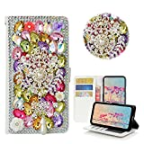 STENES Samsung Galaxy S8 Plus Case - STYLISH - 3D Handmade Crystal Dreamcatcher Pearl Pendant Wallet Credit Card Slots Fold Media Stand Leather Cover Case - Multicolor