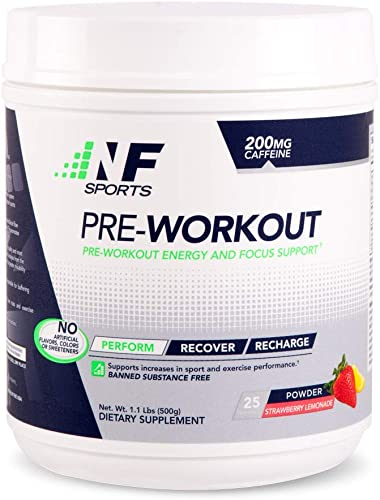 NF Sports Pre-Workout – Supports Energy, Cognitive Function, Strength, and Muscular Endurance to Optimize Workouts Strawberry Lemonade Flavor – 100 Satisfaction Guaranteed – 25 Servings