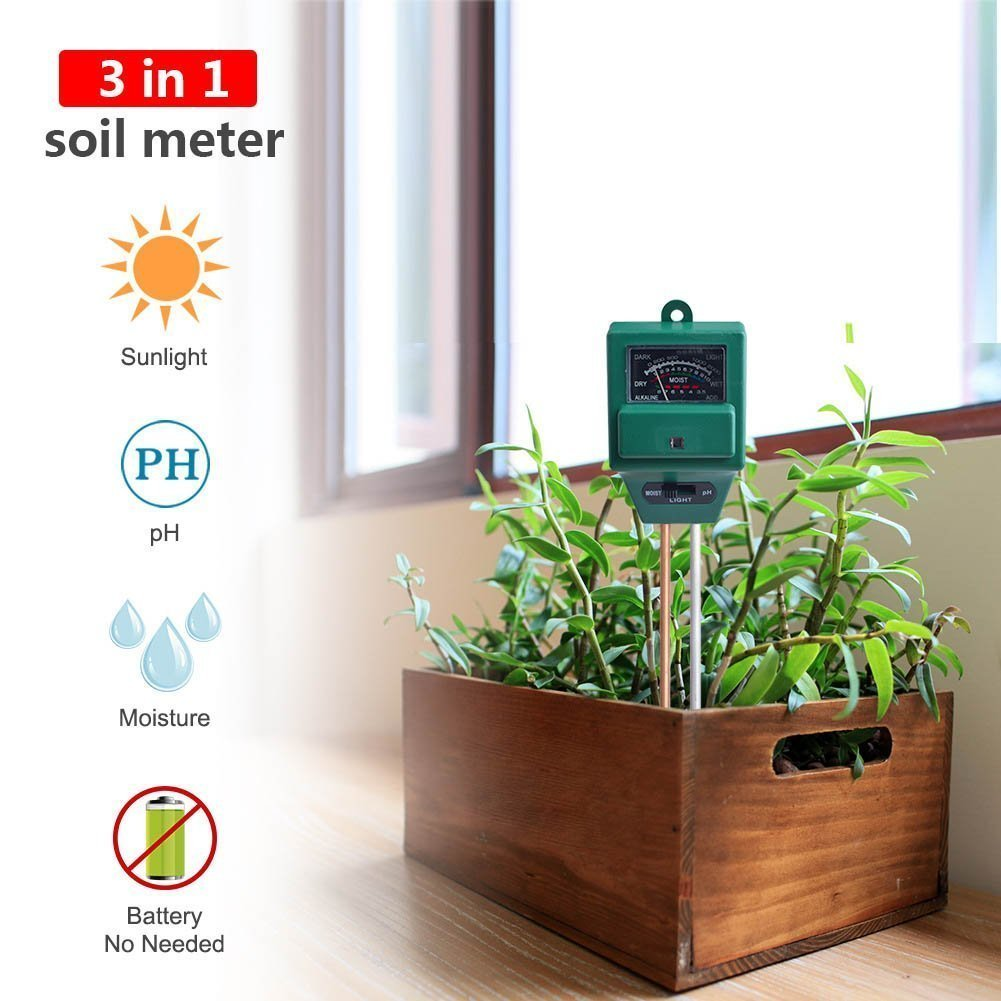 KINGLAKE Soil pH Meter Soil Tester,3-in-1 Moisture Sensor Meter,Sunlight and pH Soil Tester Kits For Garden Farm,Lawn,Home Indoor and Outdoor Use