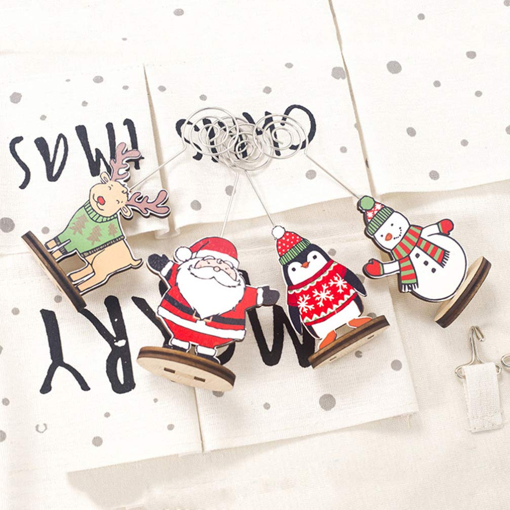 Amosfun 5pcs Christmas Wooden Place Name Card Holders Reindeer Ornament Memo Clips Photo Holders Stands Christmas Table Decorations Holiday Party Supplies
