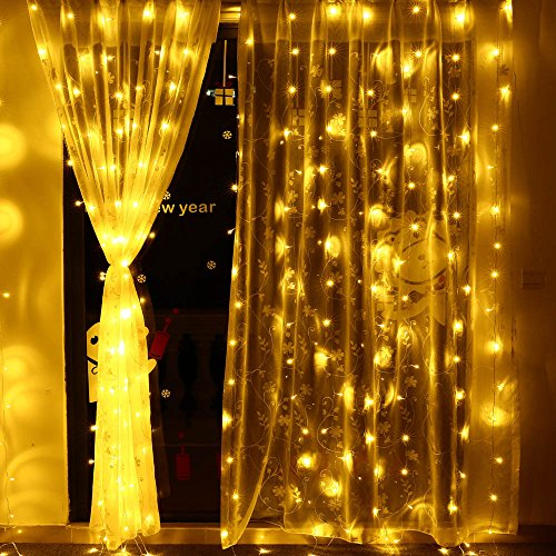 Decorative Canopy - Icicle Curtain Lights, 8 Modes, 306 LED Cutest Fairy String Lights Indoor Outdoor Wall Background Decorative Lights for Wedding/Festival/Party/Garden/Home Christmas Decorations (Warm White)
