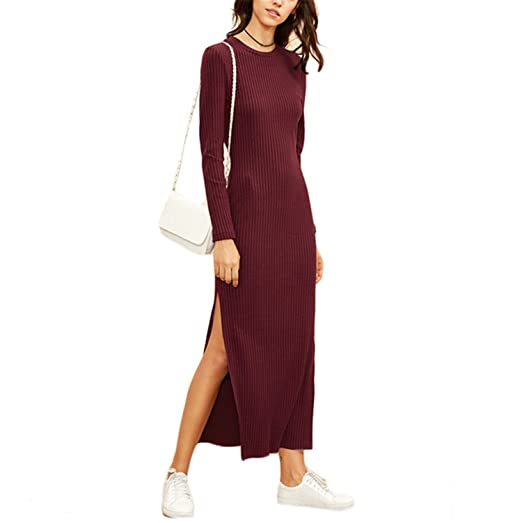 5df790b8faaed Phillip Dudley Winter Dresses For Women European Style Women Fall Dresses  Burgundy Knitted Long Sleeve High Slit Ribbed Dress at Amazon Women's  Clothing ...