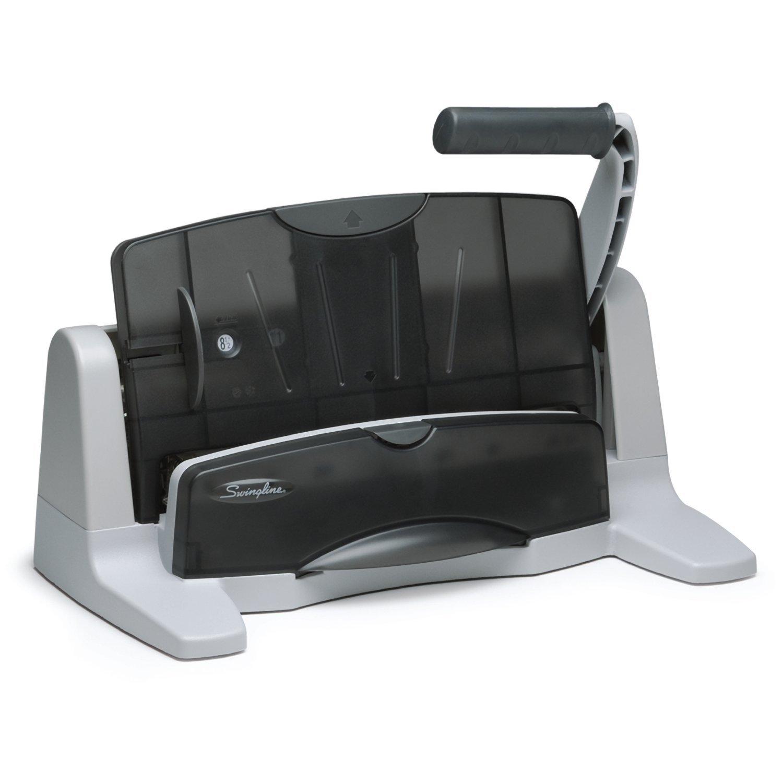 Swingline Desktop Hole Punch Heavy Duty Puncher LightTouch Adjustable 2 7 Holes 40 Sheet Capacity Black Silver