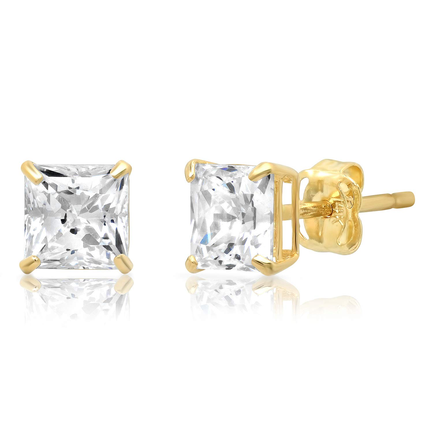 14k Solid Yellow Gold PRINCESS Stud Earrings with Genuine Swarovski Zirconia | 1.5 CT.TW. | With Gift Box by Parade of Jewels (Image #1)