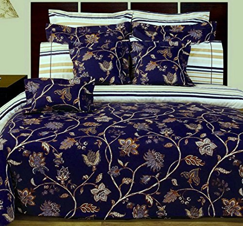 12pc French Country Blue Floral Cotton Duvet Comforter Cover Sheet Set Queen ()