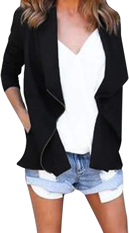 ACHIOOWA Women's Cardigan Open Front Checked Blazer Plaid Tartan Knit Tunic Coat Jacket Tops Z-black