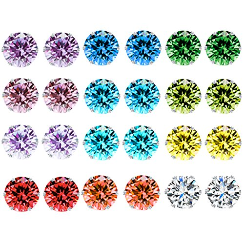 12 Pairs Birthstone Stud Earrings Set Cubic Zircon Stainless Steel Hypoallergenic Studs Earrings Gifts for Women