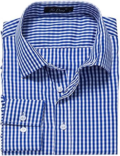 XI PENG Men's Slim Fit Plaid Checkered Gingham Long Sleeve Dress Shirts Blue White