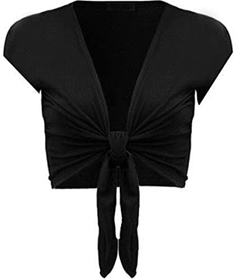 Womens Ladies Plain Short Sleeve Tie Front Shrug Bolero Cardigan Top Cover Up