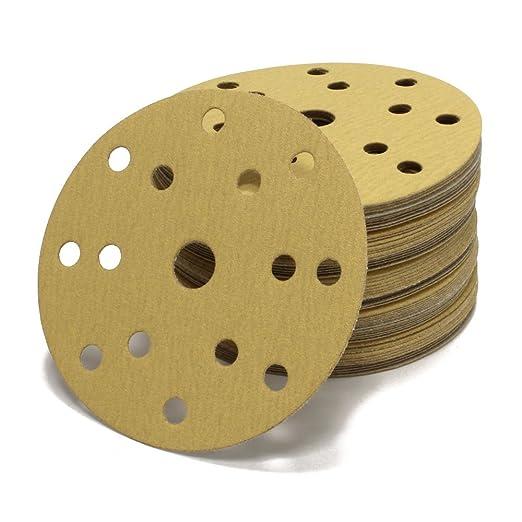 K/örnung P120 vielseitig einsetzbar f/ür optimales schleifen Klett Schleifpapier Haft 15 Loch in gold Woltersberger/® 10 St/ück Exzenter Schleifscheiben /Ø 150mm