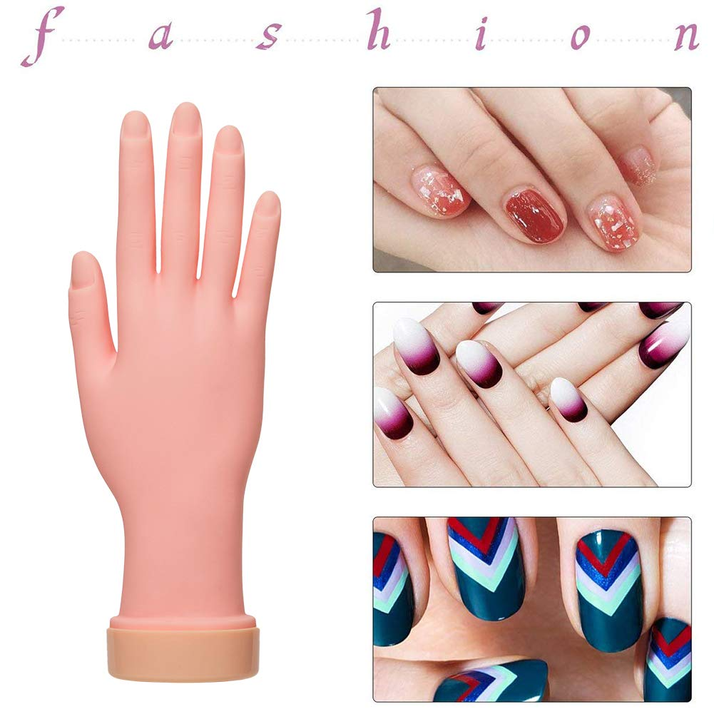 Nail Training Practice Hand for Acrylic Nails, Practice Fake Left Foot Flexible Movable Bendable Mannequin Hand, Fake Hand And Foot Manicure Practice Tool(Left foot+right hand) : Beauty