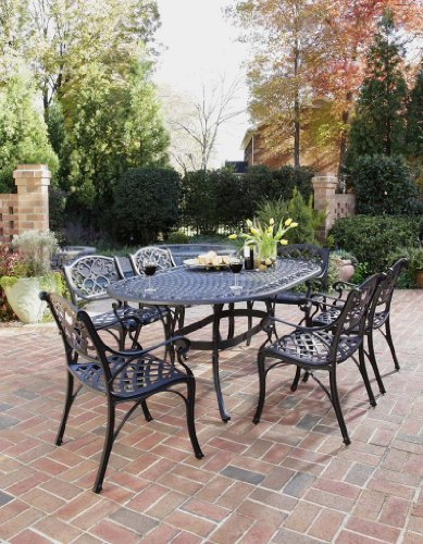 Home Styles 5554-338 Biscayne 7-Piece Outdoor Dining Set, Black Finish (Cast Iron Patio Table And Chairs)