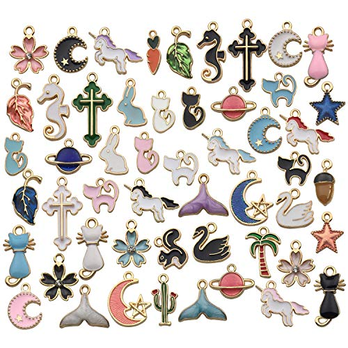 iloveDIYbeads 50pcs Assorted Gold Plated Enamel Animals Fruit Moon Star Unicorn Mermaid Charm Pendant for DIY Jewelry Making Necklace Bracelet Earring DIY Jewelry Accessories Charms M157