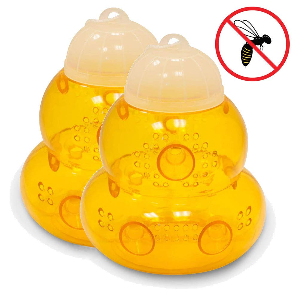 fasloyu Reusable Wasp Trap - 2Packs Wasp Trap Catcher,Bee Trap,Outdoor Wasp Killer Insect Catcher Honey Bee Trap- Effectively Lures for Yellow Jackets, Bees, Wasps, Hornets, Bugs and More (2PCs) faSLKOE-898