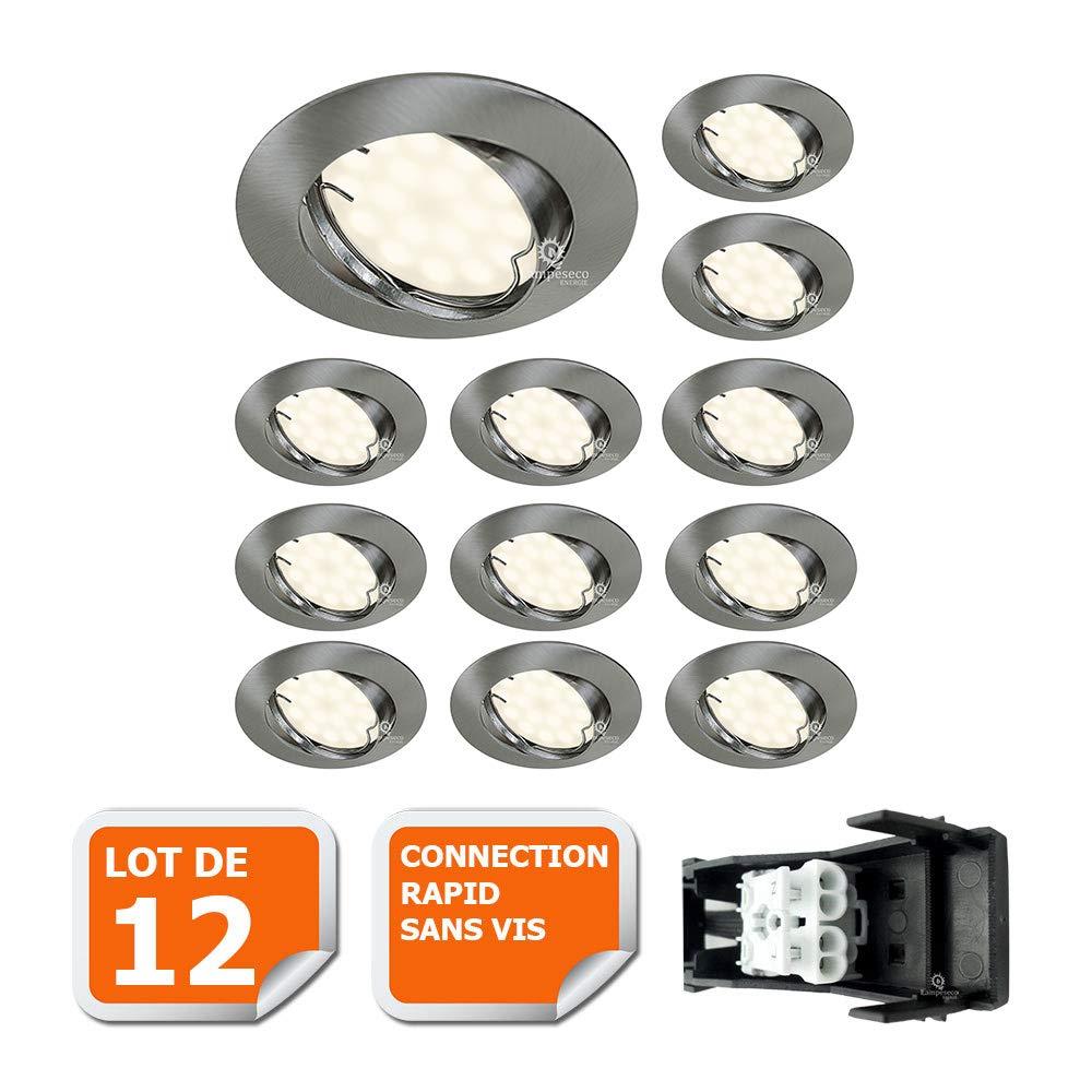 LOT DE 8 SPOT LED ENCASTRABLE ORIENTABLE ALU BROSSE AVEC AMPOULE GU10 230V eq. 50W, BLANC CHAUD Lampesecoenergie