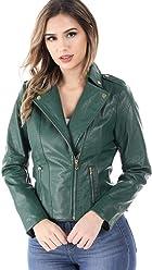 3b8af8a5 SALT TREE Women's Faux Leather Zipper Front Biker Moto Style Jacket