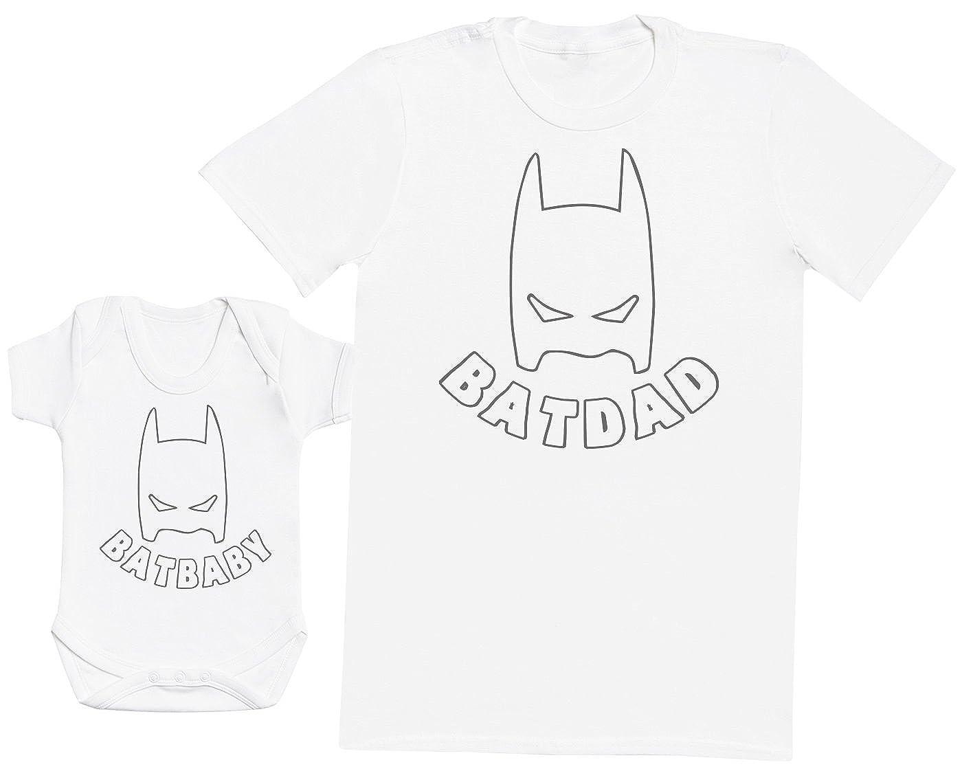 Zarlivia Clothing Bat Baby & Bat Dad - Ensemble Père Bébé Cadeau - Hommes T-Shirt & Body bébé G-10-D-BB