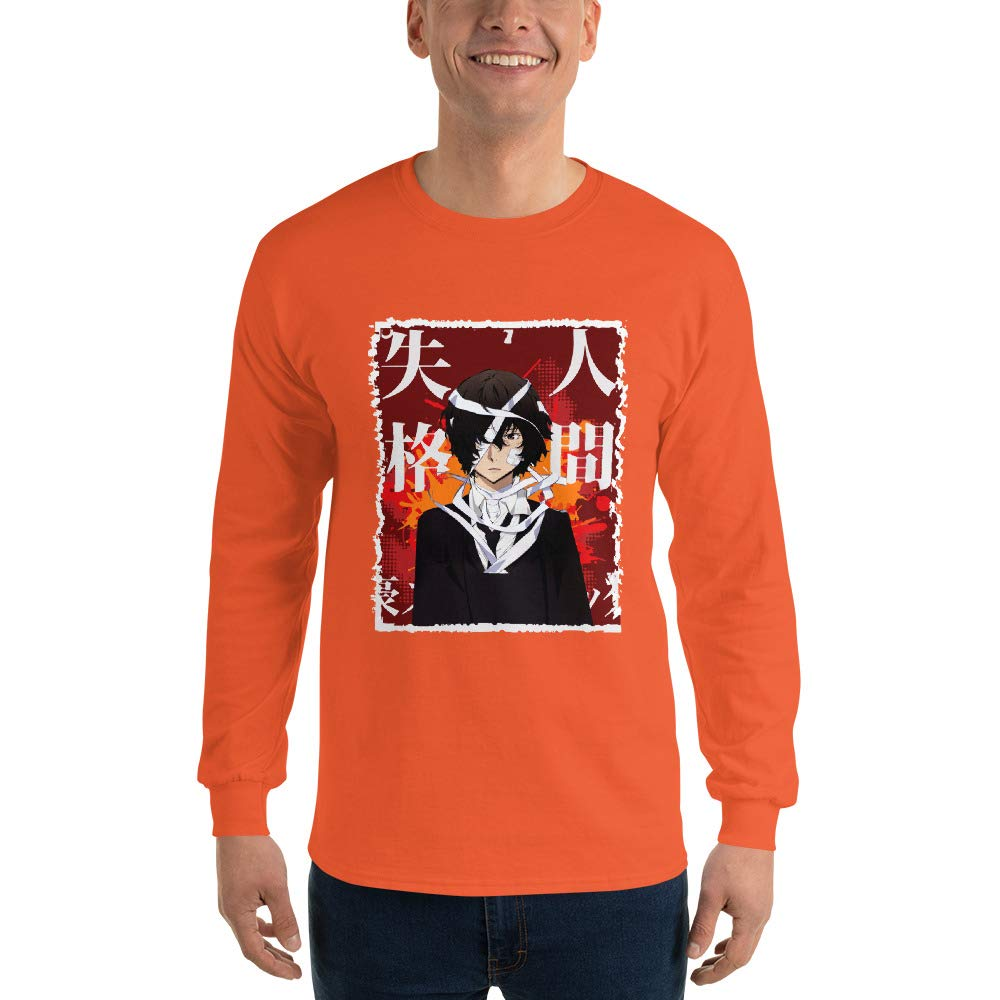 Cart Bloomy Osamu Dazai Bungou Stray Dogs Anime Manga Cosplay Scratch Frame Men Unisex Long Sleeve T-Shirt