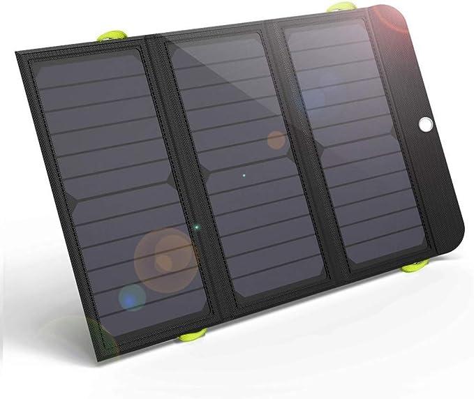 GIARIDE 21W Cargador Solar portátil Carga rápida 3 USB 6000mAh Batería SunPower Panel Solar Banco Plegable de energía para iPhone X / 8/7/6 / Plus, iPad, Galaxy, LG, Pixel, Tableta, Viaje: Amazon.es: Electrónica
