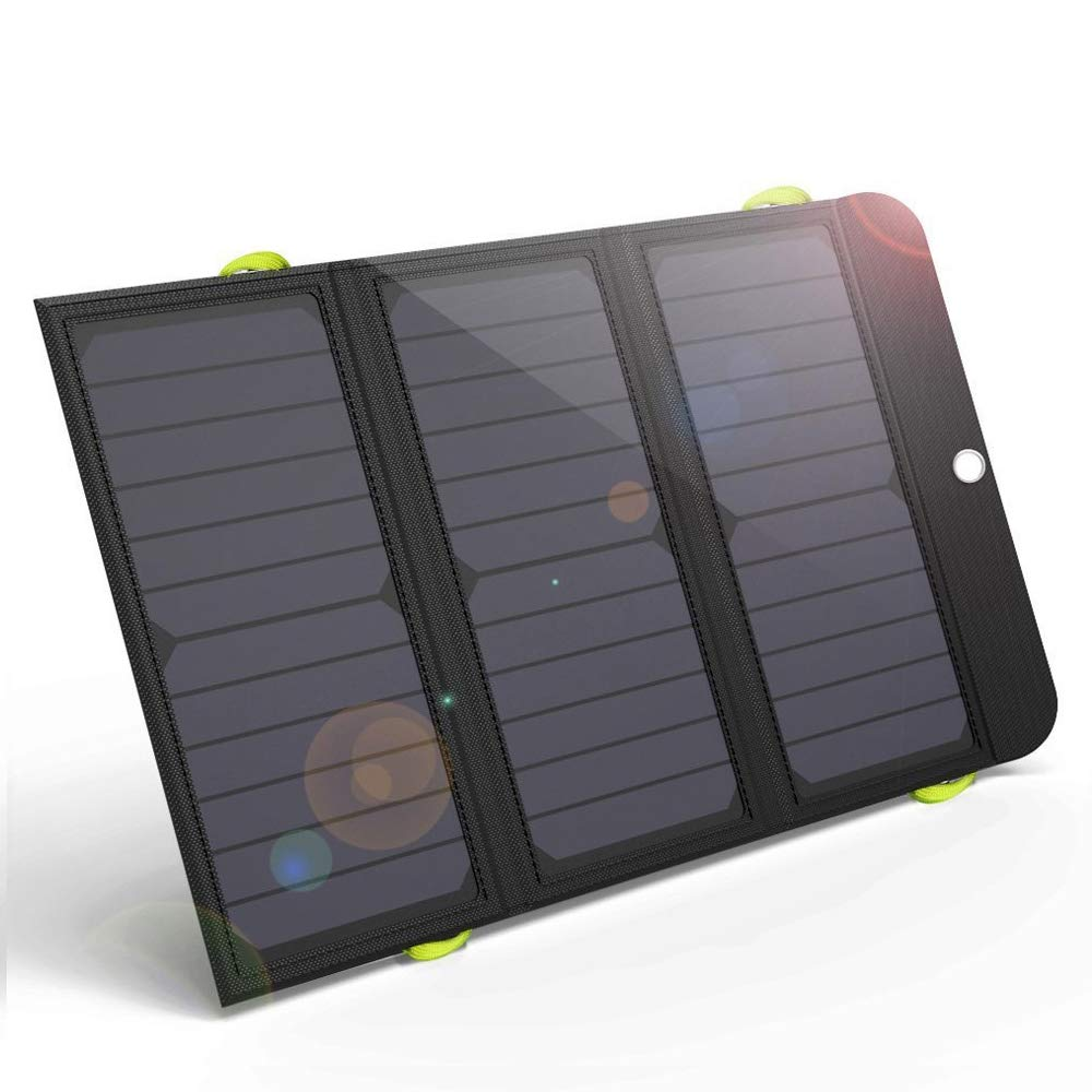 GIARIDE 21W Portable Solar Charger 4 USB Port Quick Charge 6000mAh Battery SunPower Solar Panel Foldable Power Bank for iPhone X/8/7/6/Plus, iPad, Galaxy, LG, Pixel, Tablet, Travel, Camping, Hiking by GIARIDE