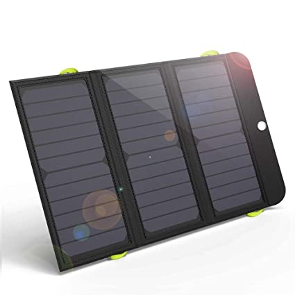 GIARIDE 21W Portable Solar Charger 4 USB Port Quick Charge 6000mAh Battery  SunPower Solar Panel Foldable Power Bank for iPhone X/8/7/6/Plus, iPad,