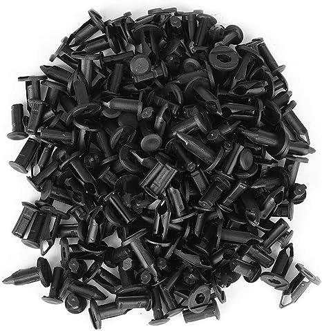 Cikuso 10 Pieces diametre du Trou de 6 mm Plastique Noir Rivet Clip de Pare-Chocs