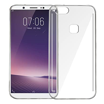 online retailer e2ae9 78e1c RTCO Soft Jelly Flexible Back Cover for Vivo V7 Plus 2017 Model with  Tempered Glass Screen Protector (Transparent)