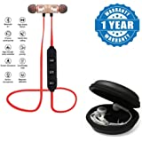 Drumstone Magnetic Bluetooth Headphones with Noise Isolation and Hands-free Mic with Multi-Purpose Round Earphone Carrying Case for All Smartphones