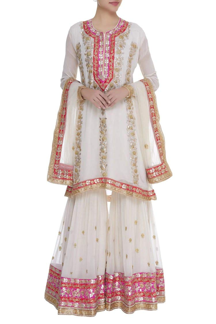 Indian Ethnic Ready to wear White Parsi Neckline Full Sleeve Lace Work Kurti Garara Suit Dupatta Bespoke 108okh